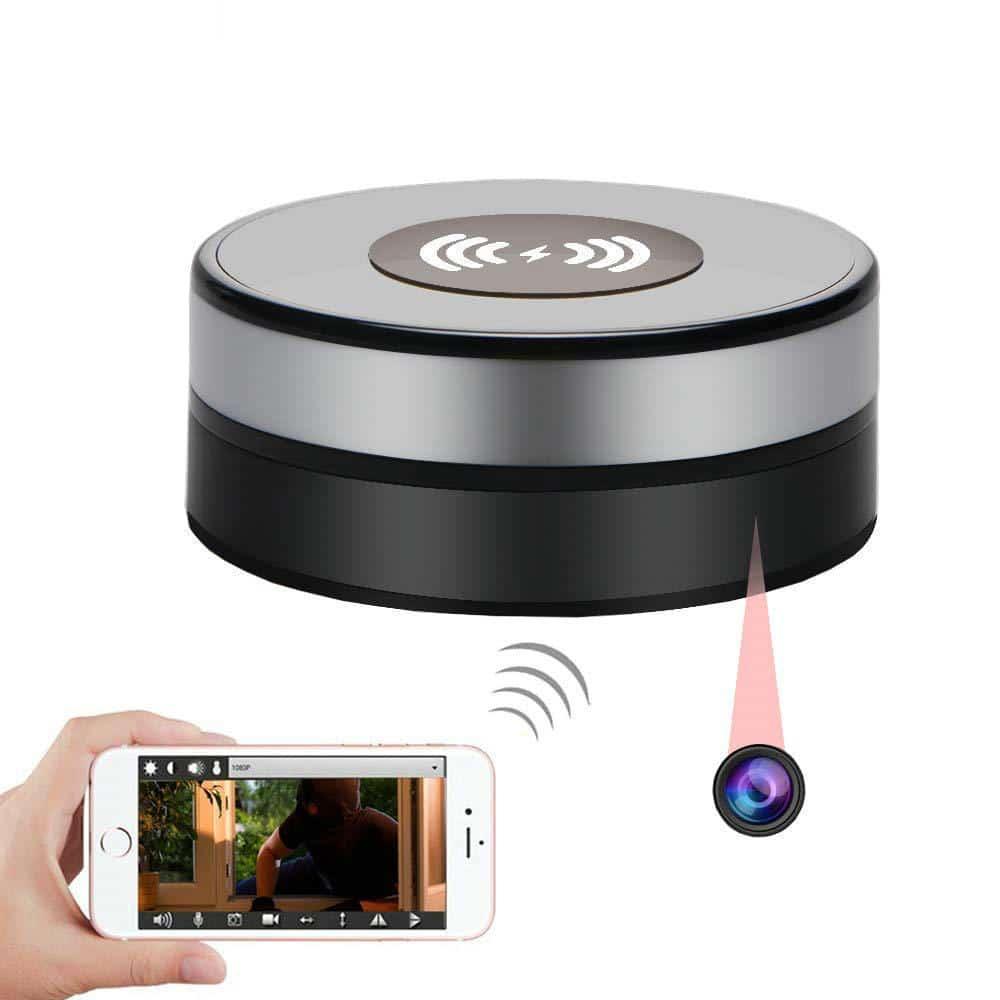 Getarnte Funkkamera   Induktionsladegerät für Smartphones mit getarnter WiFi-Kamera und schwenkbarer Optik