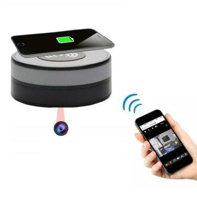 Getarnte Funkkamera | Induktionsladegerät für Smartphones mit getarnter WiFi-Kamera und schwenkbarer Optik